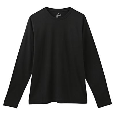 オーガニックコットンクルーネック長袖Tシャツ 紳士S・黒