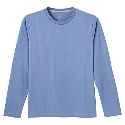 オーガニックコットンクルーネック長袖Tシャツ 紳士S・ライトブルー