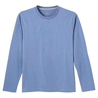 オーガニックコットンクルーネック長袖Tシャツ 紳士L・ライトブルー