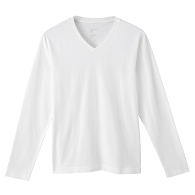 オーガニックコットンVネック長袖Tシャツ 紳士L・オフ白