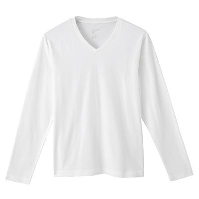 オーガニックコットンVネック長袖Tシャツ 紳士XL・オフ白