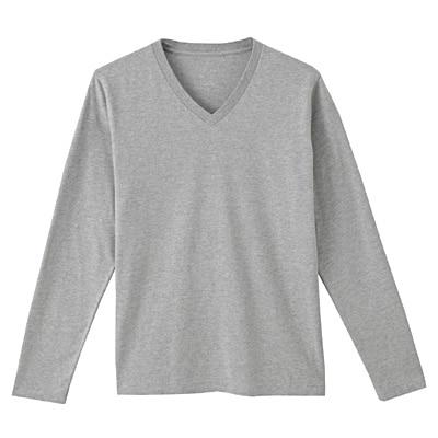 オーガニックコットンVネック長袖Tシャツ 紳士XL・ライトシルバーグレー