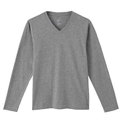 オーガニックコットンVネック長袖Tシャツ 紳士XL・チャコールグレー