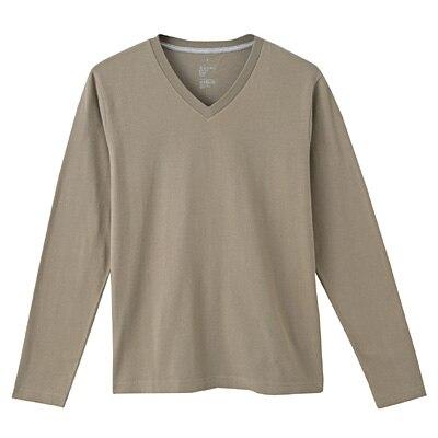 オーガニックコットンVネック長袖Tシャツ 紳士L・オリーブグリーン