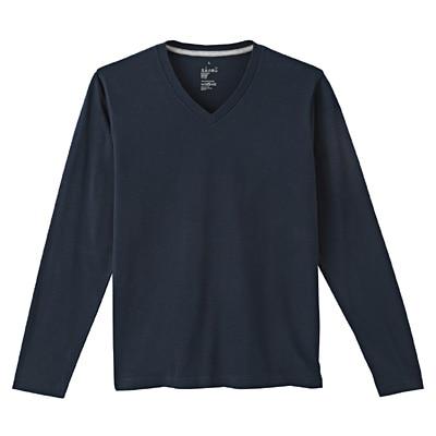 オーガニックコットンVネック長袖Tシャツ 紳士XL・ダークネイビー