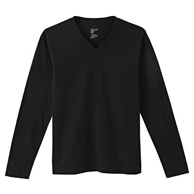 オーガニックコットンVネック長袖Tシャツ 紳士M・黒
