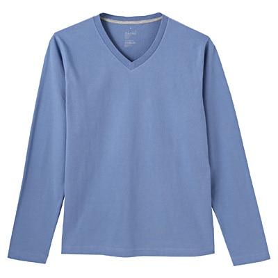 オーガニックコットンVネック長袖Tシャツ 紳士S・ライトブルー
