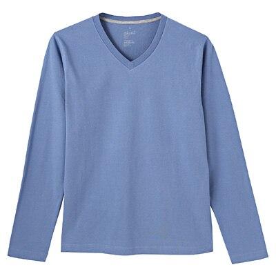オーガニックコットンVネック長袖Tシャツ 紳士XL・ライトブルー