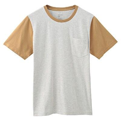 オーガニックコットン配色Tシャツ 紳士L・イエロー