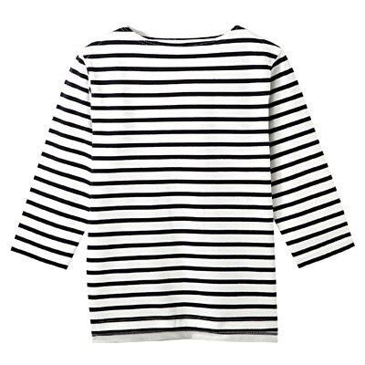 オーガニックコットンボーダーボートネック七分袖Tシャツ 紳士M・オフ白×ボーダー