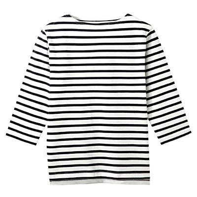 オーガニックコットンボーダーボートネック七分袖Tシャツ 紳士L・オフ白×ボーダー