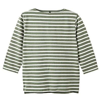 オーガニックコットンボーダーボートネック七分袖Tシャツ 紳士M・ライトグリーン×ボーダー