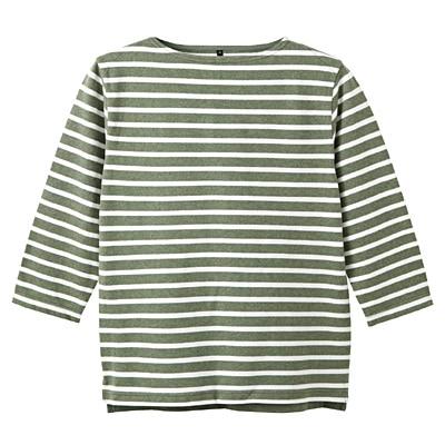 オーガニックコットンボーダーボートネック七分袖Tシャツ 紳士L・ライトグリーン×ボーダー