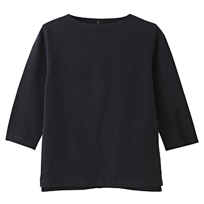 オーガニックコットンボートネック七分袖Tシャツ 紳士S・ダークネイビー