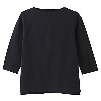オーガニックコットンボートネック七分袖Tシャツ 紳士L・ダークネイビー