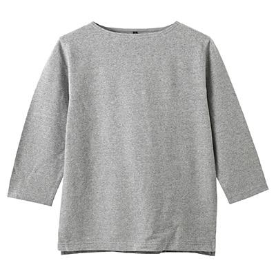 オーガニックコットンボートネック七分袖Tシャツ 紳士S・グレー