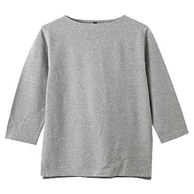 オーガニックコットンボートネック七分袖Tシャツ 紳士XL・グレー