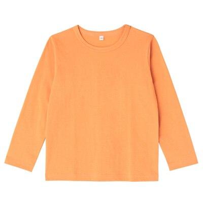 毎日のこども服長袖Tシャツ キッズ120・オレンジ