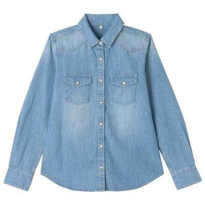 オーガニックコットンデニムウエスタンシャツ 婦人XL・ブルー