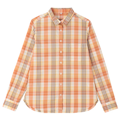 オーガニックコットンチェックシャツ 婦人L・オレンジ