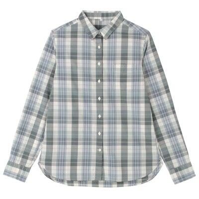 オーガニックコットンチェックシャツ 婦人XL・スモーキーグリーン