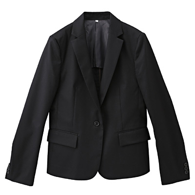 綿混ストレッチジャケット 婦人L・黒