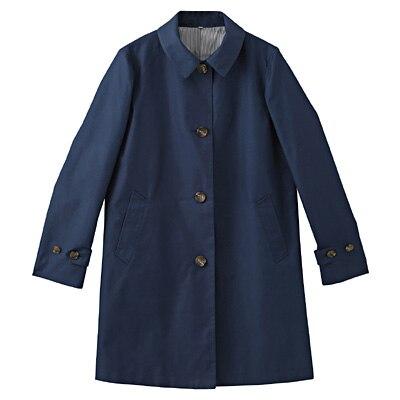 コットン混ツイルステンカラーコート 婦人S・ブルー