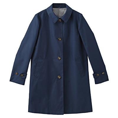 コットン混ツイルステンカラーコート 婦人L・ブルー