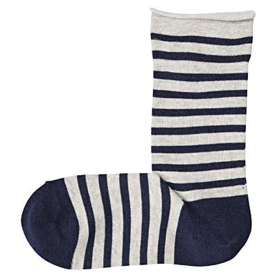 足なり直角 足くちロールボーダー柄靴下(婦人・えらべる) 23~25cm・ネイビー
