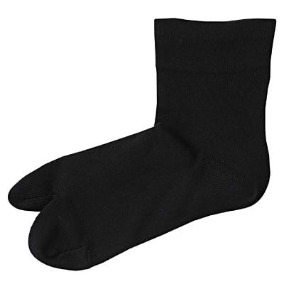 足なり直角 綿混タビ型ソックス 23~25cm・黒