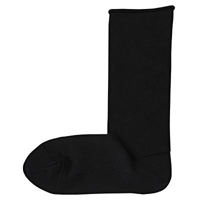 足なり直角 足くちロールハイゲージ靴下 23~24cm・黒