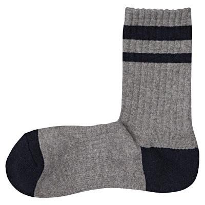 足なり直角 ライン入り足底パイル靴下(紳士・えらべる) 25~27cm・グレー