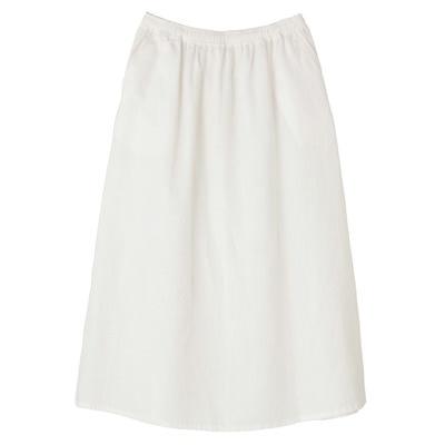 フレンチリネンイージーマキシスカート 婦人L・白