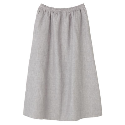 フレンチリネンイージーマキシスカート 婦人M・グレー