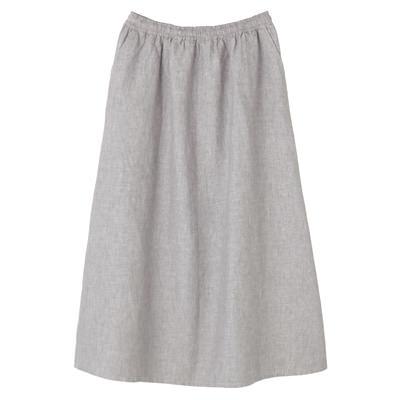 フレンチリネンイージーマキシスカート 婦人L・グレー