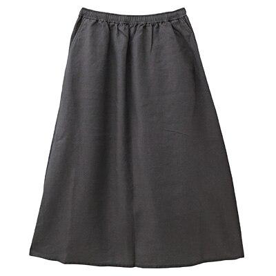 フレンチリネンイージーマキシスカート 婦人L・ダークグレー