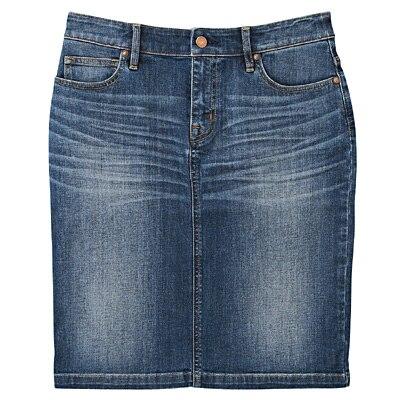 オーガニックコットンストレッチデニムスカート 婦人61・ブルー