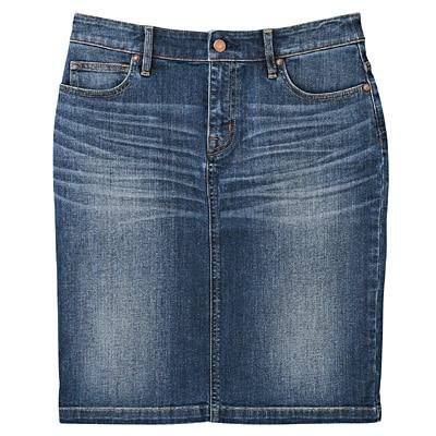 オーガニックコットンストレッチデニムスカート 婦人67・ブルー