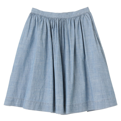 オーガニックコットンシャンブレーギャザースカート 婦人61・ブルー