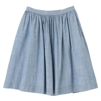 オーガニックコットンシャンブレーギャザースカート 婦人64・ブルー
