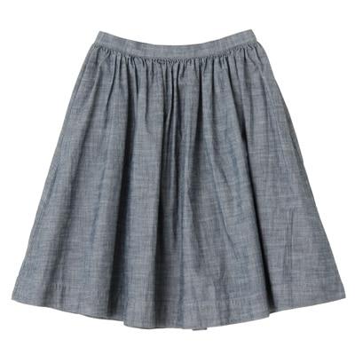 オーガニックコットンシャンブレーギャザースカート 婦人61・ネイビー
