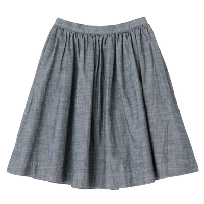 オーガニックコットンシャンブレーギャザースカート 婦人64・ネイビー