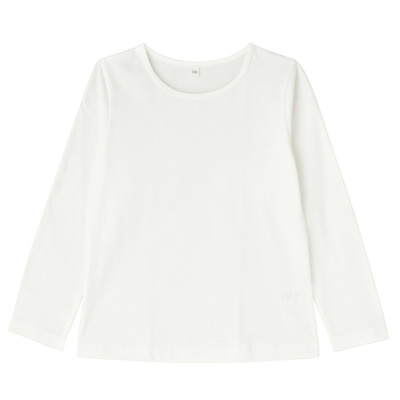 毎日のこども服女児長袖Tシャツ キッズ130・オフ白