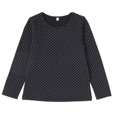 毎日のこども服女児長袖Tシャツ キッズ120・ネイビー×柄