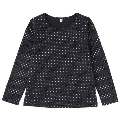 毎日のこども服女児長袖Tシャツ キッズ140・ネイビー×柄