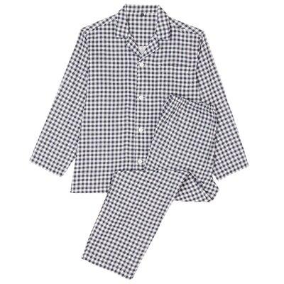 オーガニックコットン二重ガーゼパジャマ(長袖・ロング) 紳士L・ネイビー×チェック