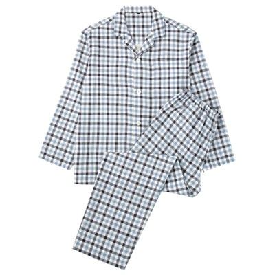 オーガニックコットン二重ガーゼパジャマ(長袖・ロング) 紳士XL・サックスブルー×チェック