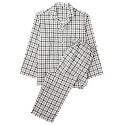 オーガニックコットン二重ガーゼパジャマ(長袖・ロング) 紳士S・黒×柄