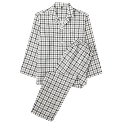 オーガニックコットン二重ガーゼパジャマ(長袖・ロング) 紳士L・黒×柄