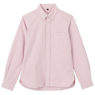 オーガニックコットン洗いざらしオックスボタンダウンシャツ 紳士XXL・ピンク